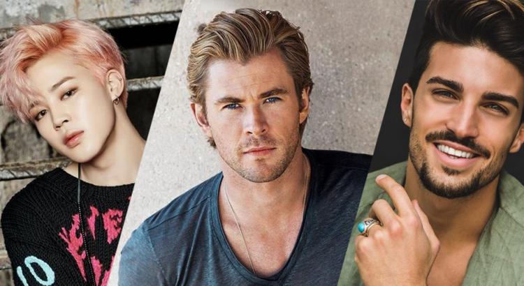 Imagem de três homens representando o padrão de beleza de cada país